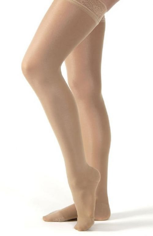 Compression stockings squeeze the leg gently and promotes circulation which in result reduces lower extremity swelling and discomfort.